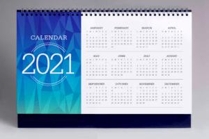 2021 customized promotional calendar on grey background